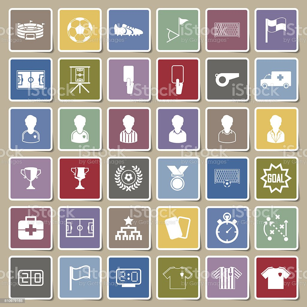 Soccer Icons set vector art illustration