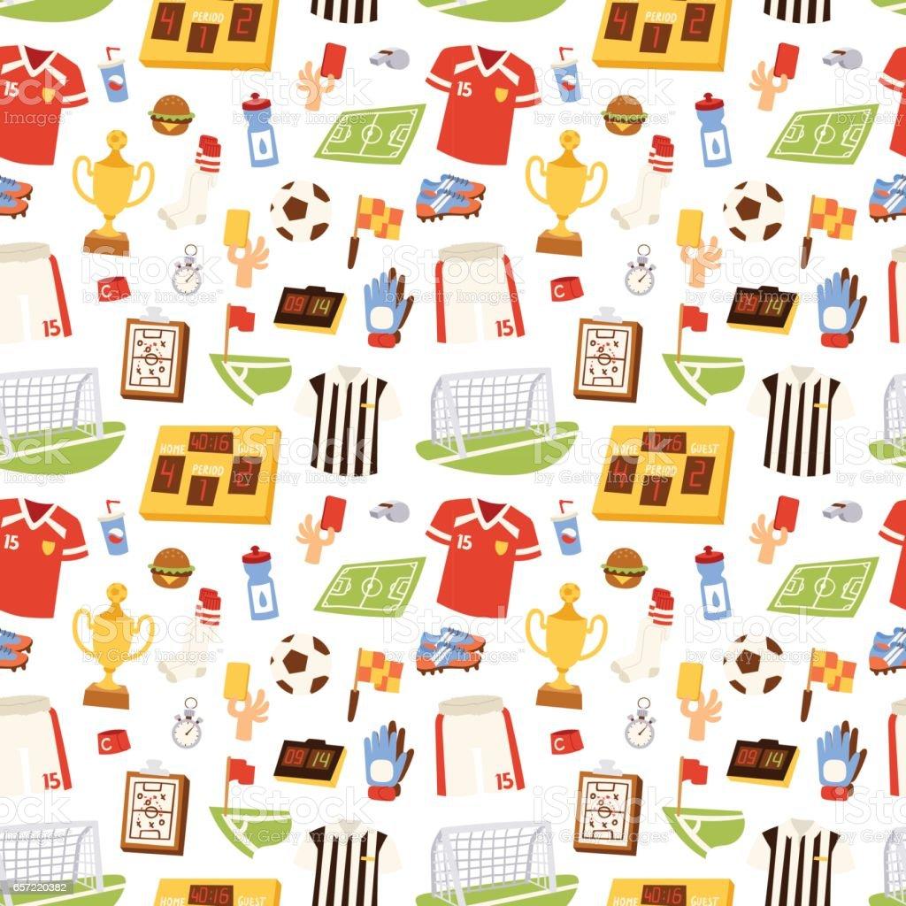 Soccer icons vector illustration seamless pattern vector art illustration