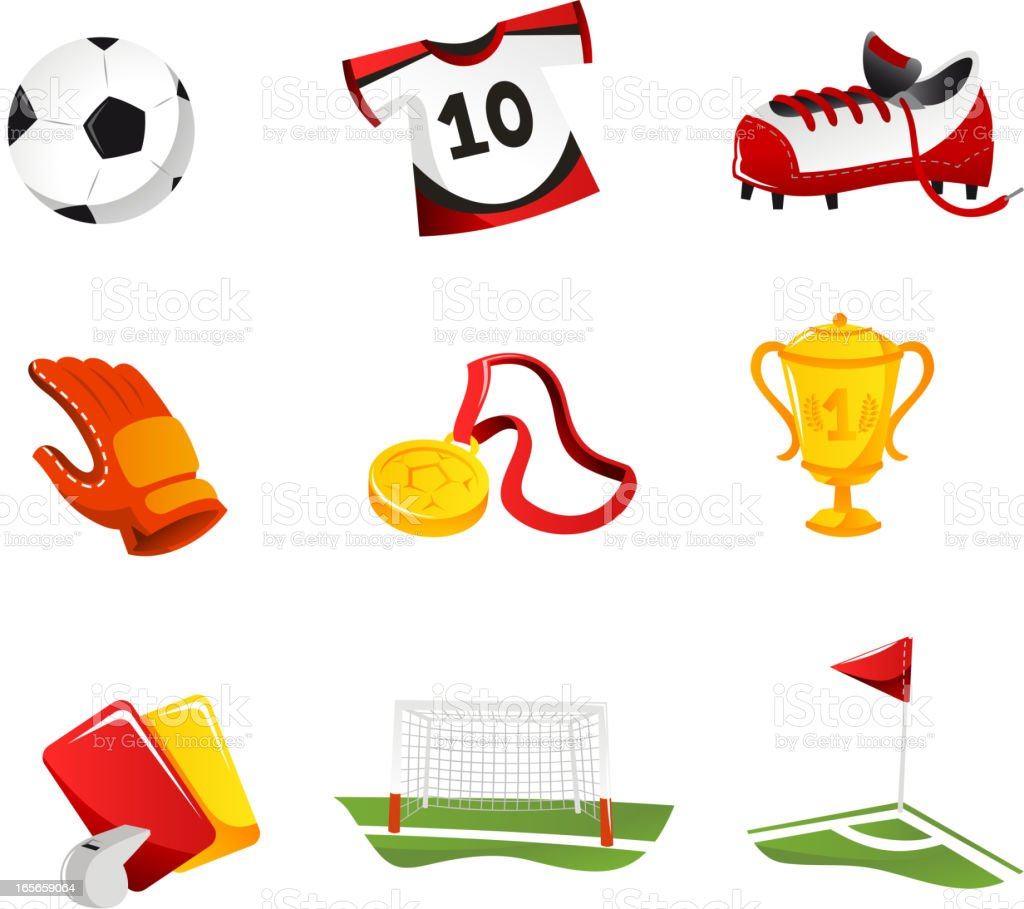 Soccer Icons with Football Shirt Shoes Gloves Cup Trophy Field royalty-free stock vector art