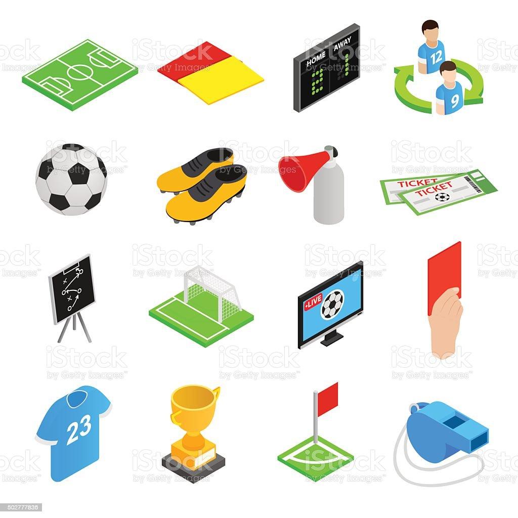 Soccer isometric 3d icons set vector art illustration