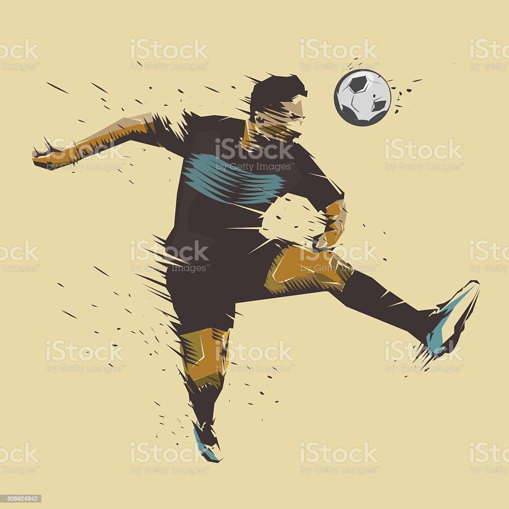 soccer jumping ink splash vector art illustration