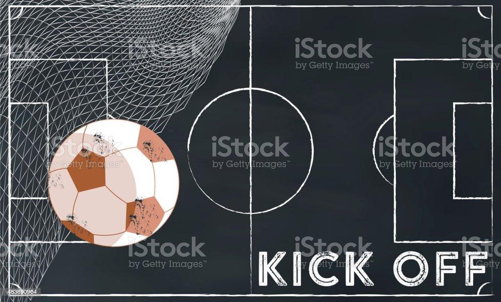 soccer kick off illustration on chalk board vector art illustration