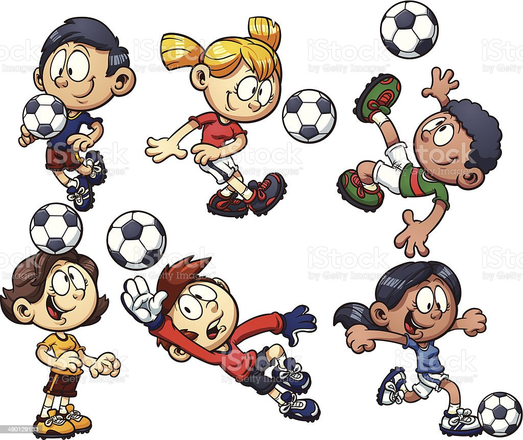 Soccer kids royalty-free stock vector art
