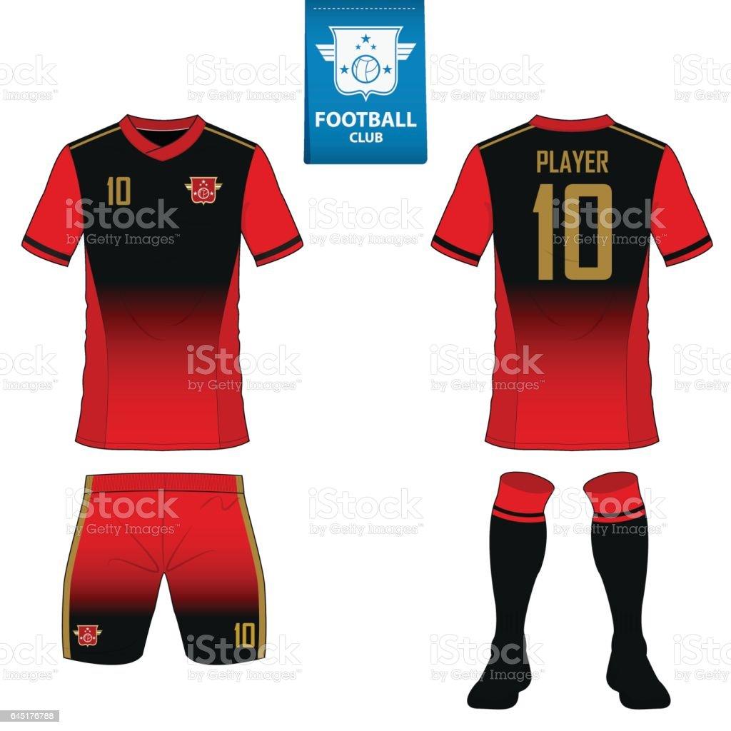soccer kit or football jersey template for football club. Flat football logo on blue label vector art illustration
