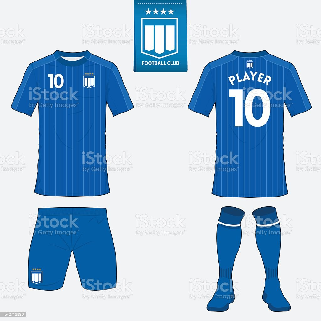 Soccer kit or football jersey template. Front, back view. Vector vector art illustration