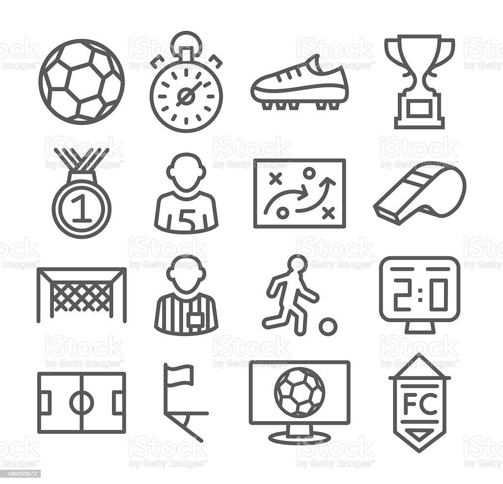 Soccer Line Icons vector art illustration