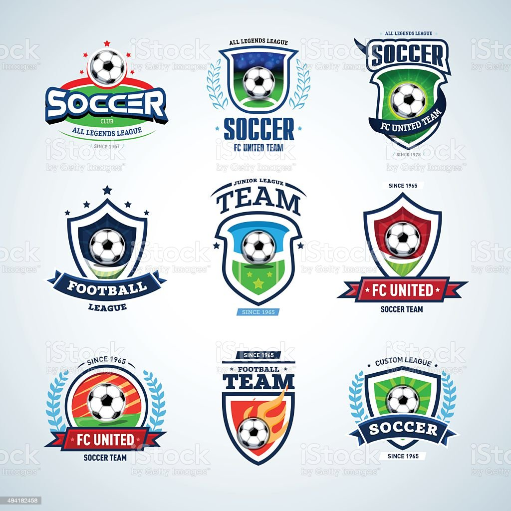 Soccer logo. Football logo. Set of soccer football crests vector art illustration
