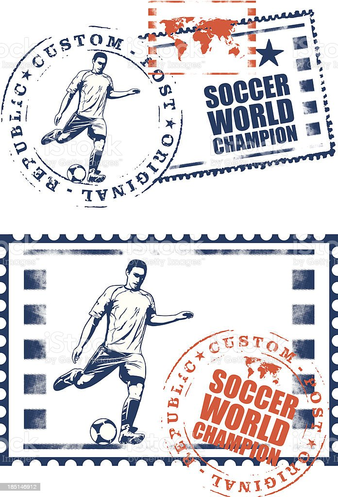 soccer mail stamp with player royalty-free stock vector art