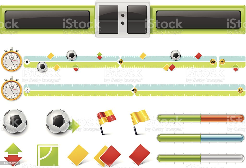 soccer match timeline with scoreboard royalty-free stock vector art