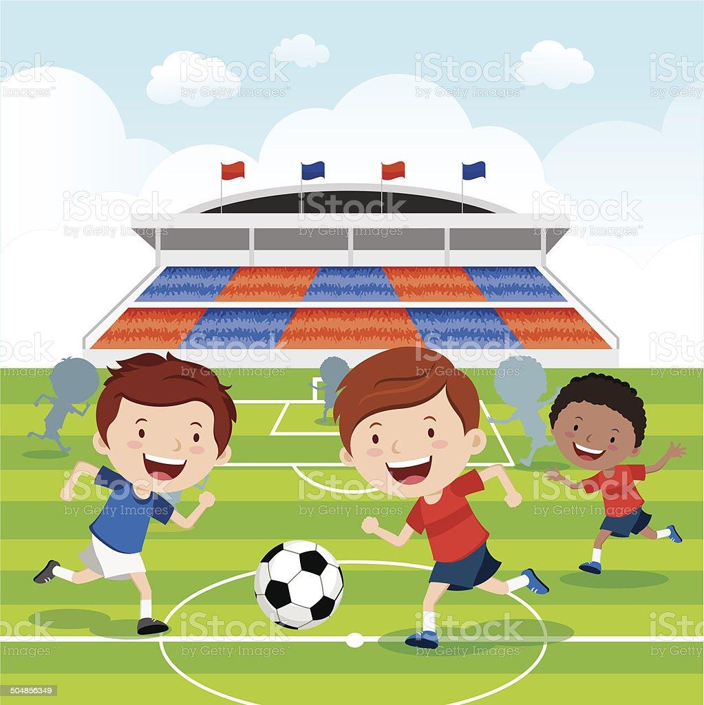 Soccer match vector art illustration
