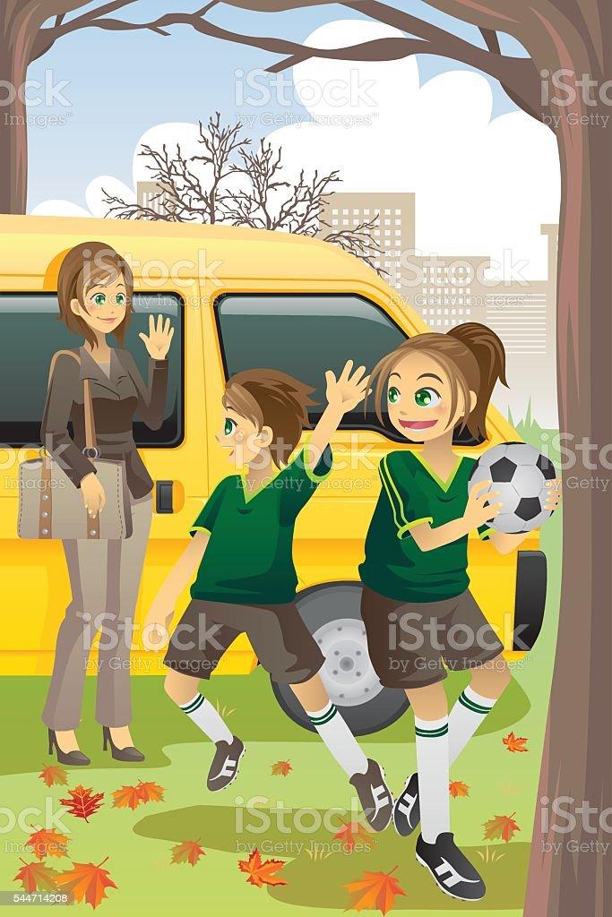Soccer mom vector art illustration