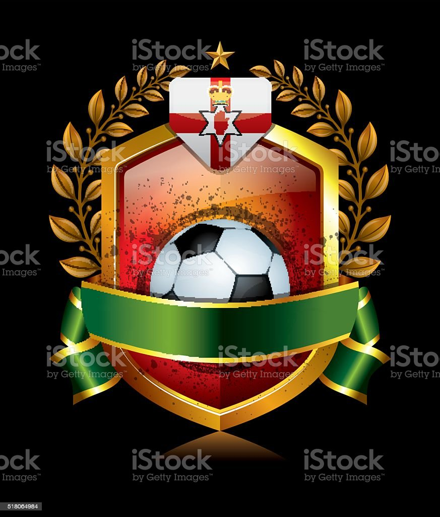 Soccer North Ireland Icon with Laurel Wreath vector art illustration