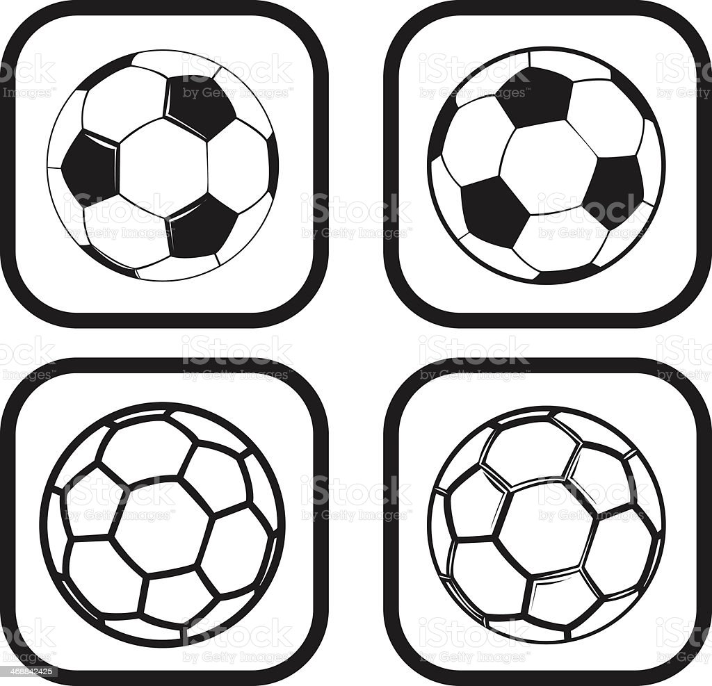 Soccer or football ball icon - four variations royalty-free stock vector art