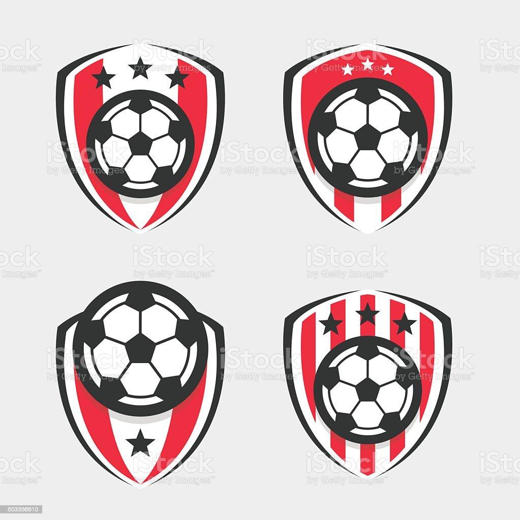 Soccer or Football Club Sign Badge Set vector art illustration
