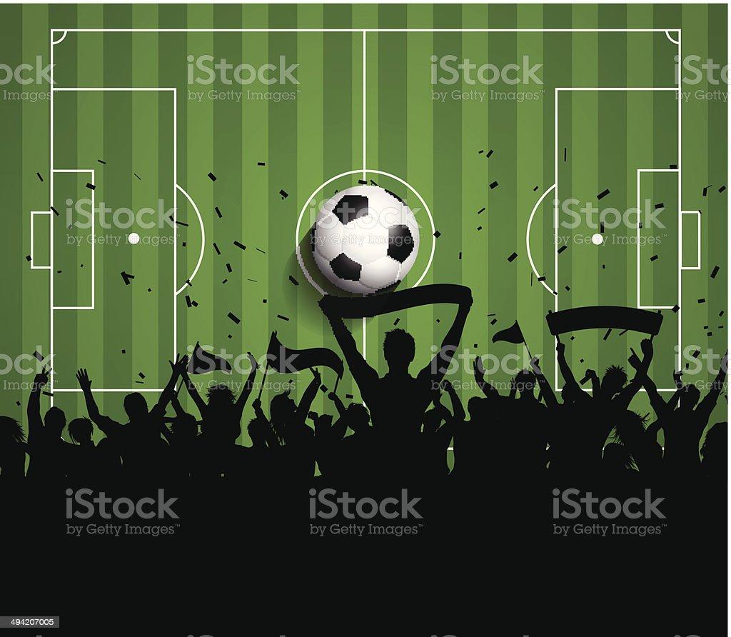 Soccer or Football crowd background vector art illustration