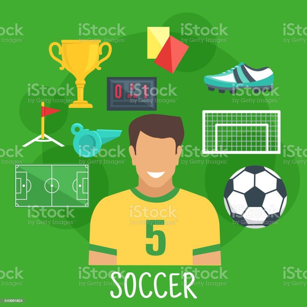 Soccer or football game sporting icon, flat style vector art illustration
