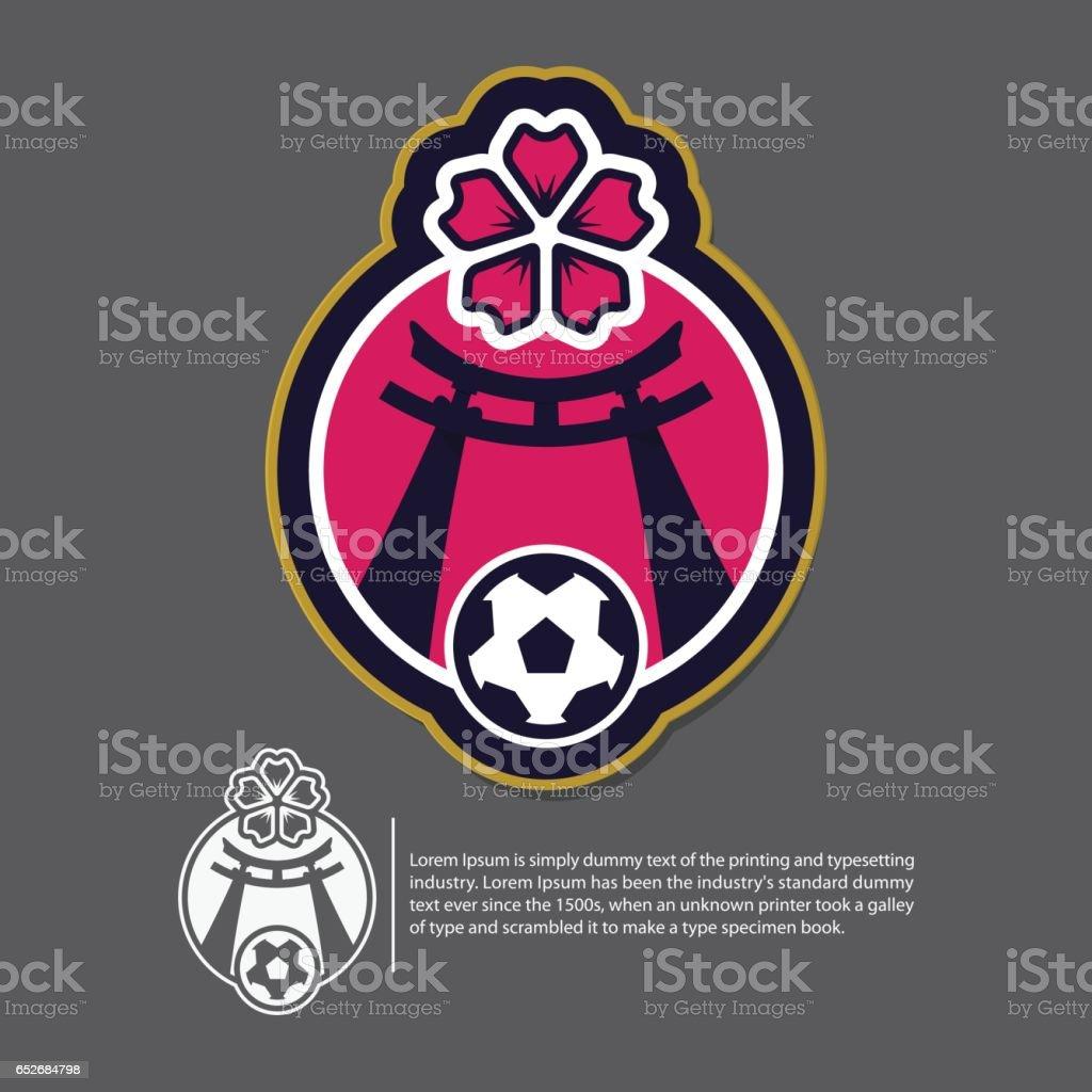 Soccer or football logo design in Japan concept. Vector. vector art illustration