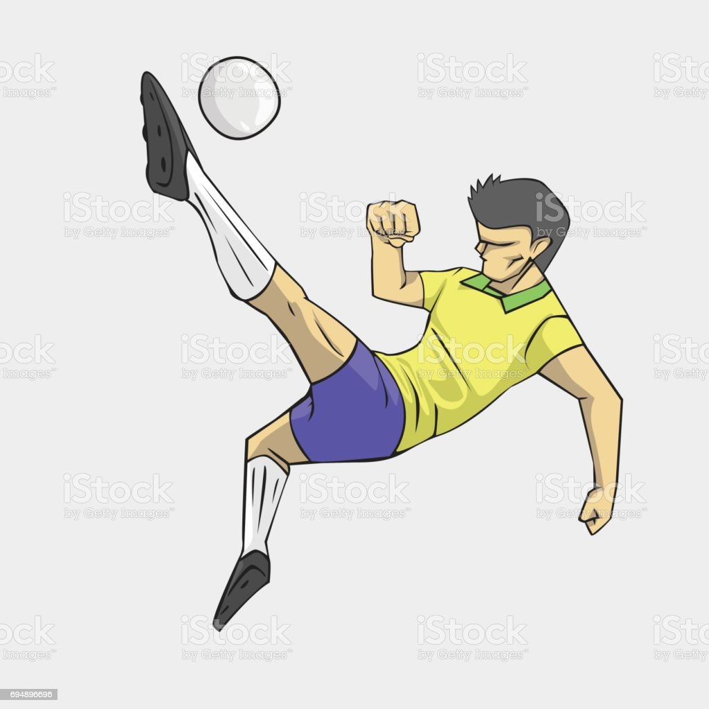 soccer player action kick the ball. vector art illustration