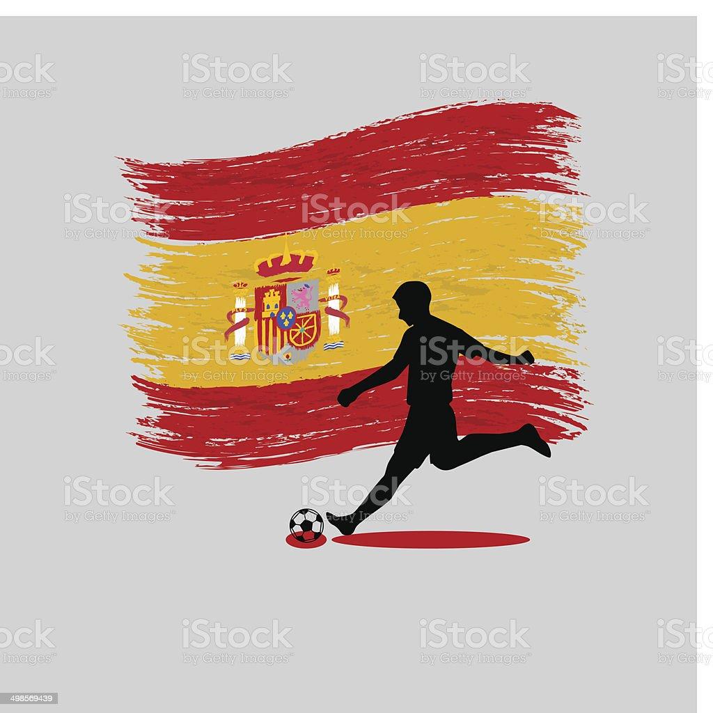 Soccer Player action Kingdom of Spain  flag on background vector art illustration