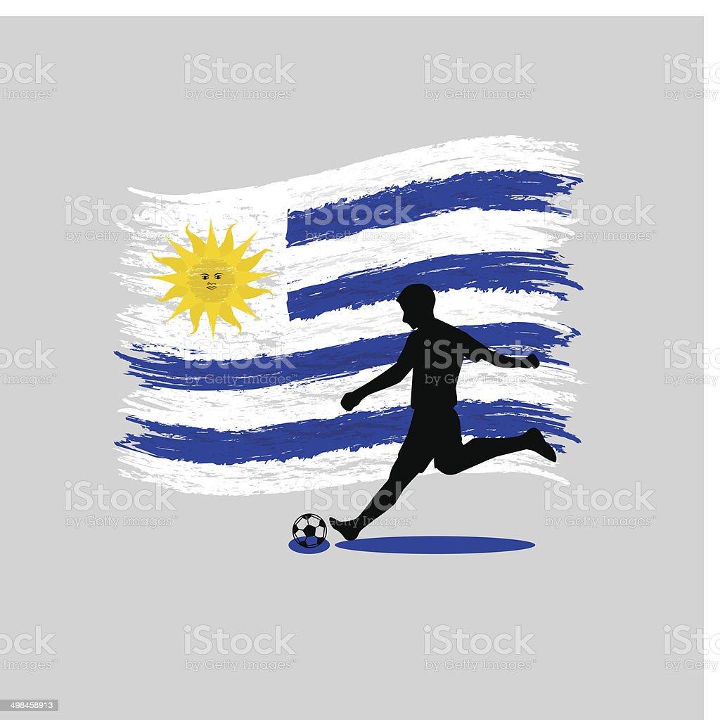 Soccer Player action Oriental Republic of Uruguay  flag on background vector art illustration
