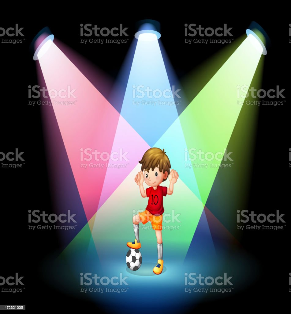 soccer player at the stage with spotlights royalty-free stock vector art