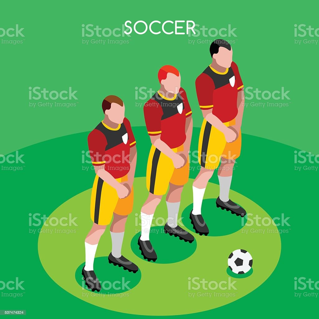 Soccer Player Barrier Isometric Athlete Football International Competition Championship Games vector art illustration