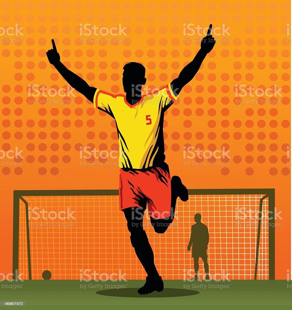 Soccer Player Celebrating After Scoring Goal vector art illustration