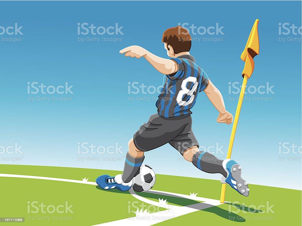 Soccer Player Corner Kick vector art illustration