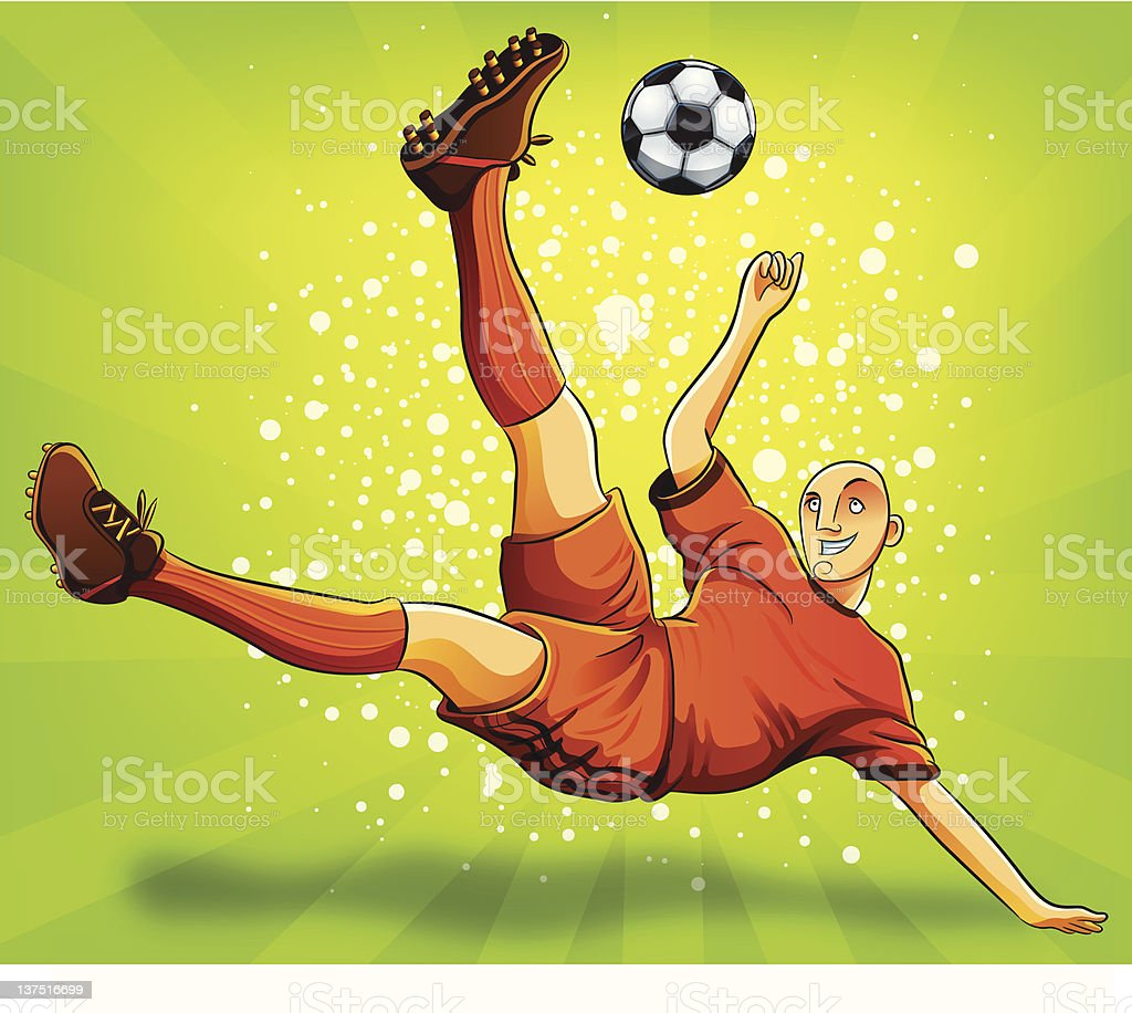 Soccer Player Flying Shooting a Ball royalty-free stock vector art