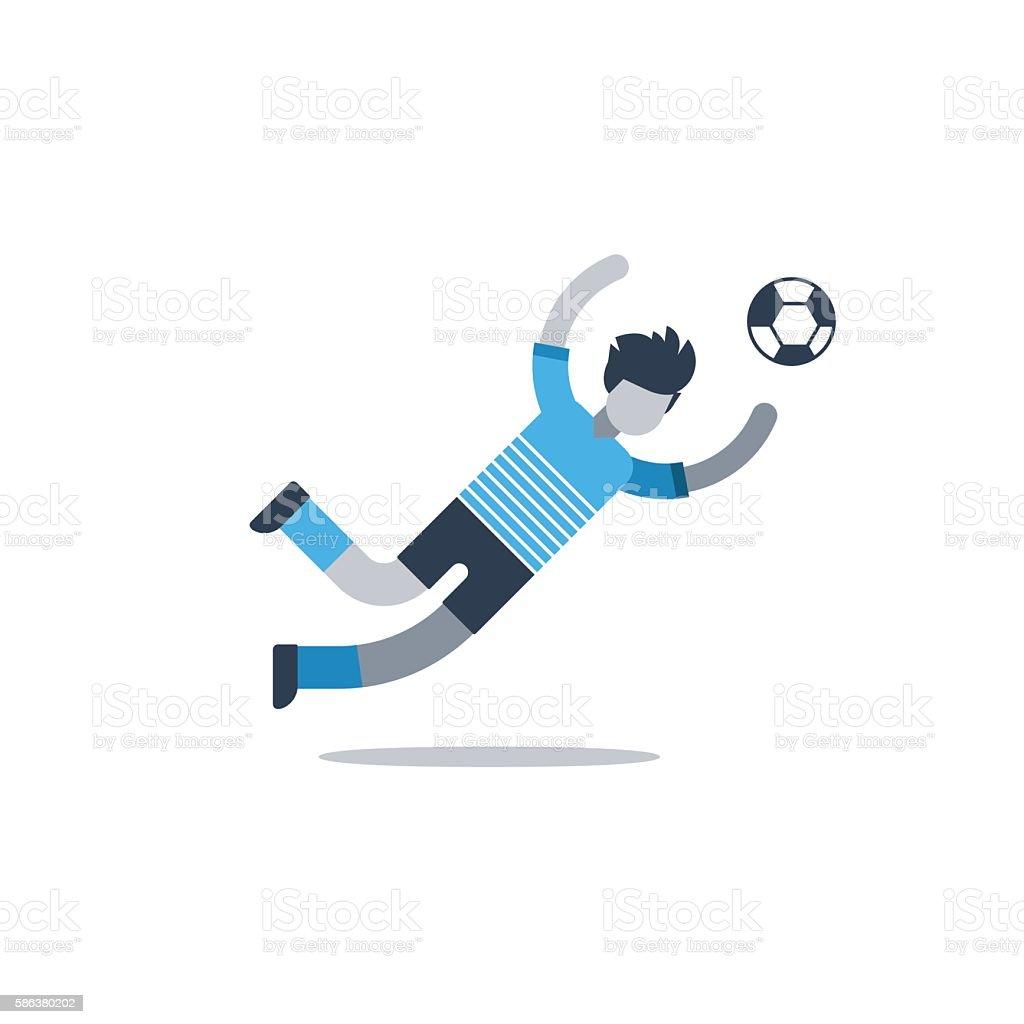 Soccer player, football goalkeeper catching ball vector art illustration
