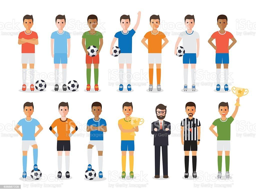 Soccer player, football sport athlete character set vector art illustration