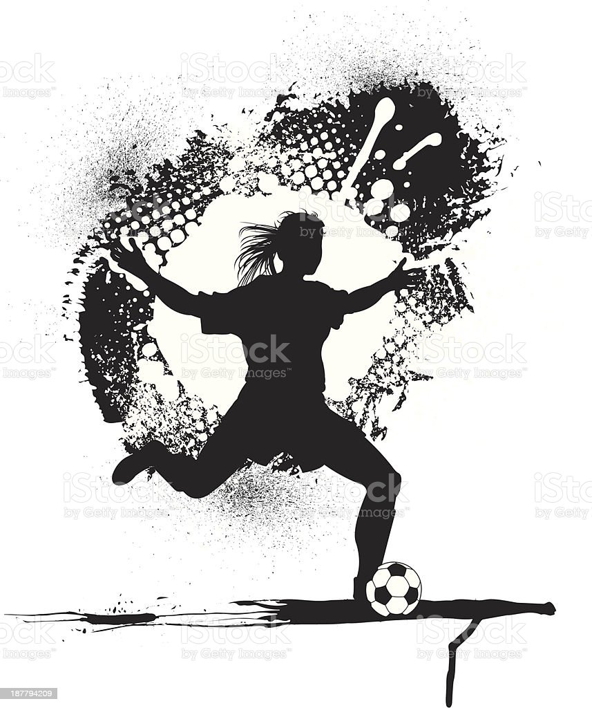 Soccer Player Grunge Graphic - Girls royalty-free stock vector art