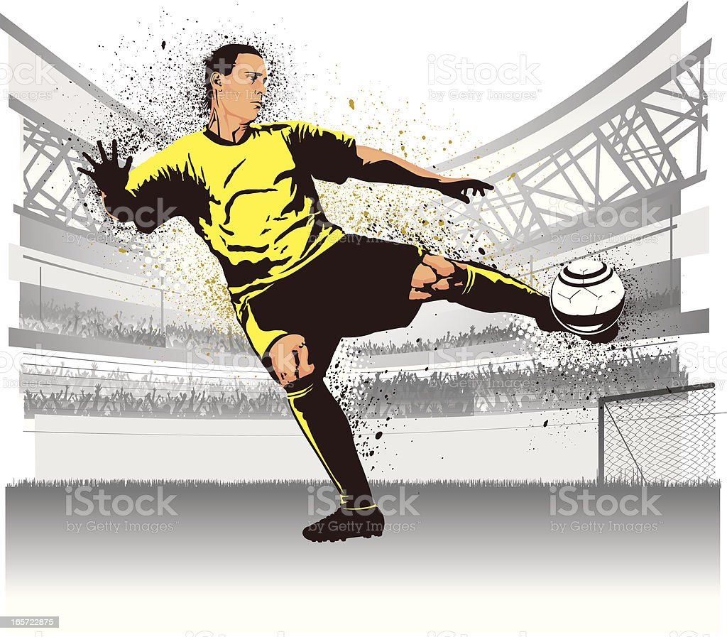 Soccer player in stadium shooting royalty-free stock vector art