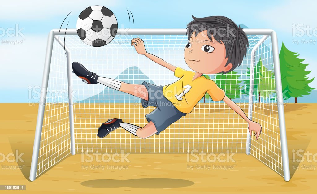 soccer player kicking a ball royalty-free stock vector art