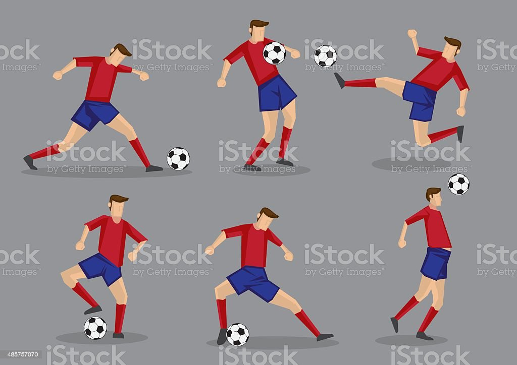 Soccer Player Kicking Passing Heading and Goal Shooting Poses vector art illustration