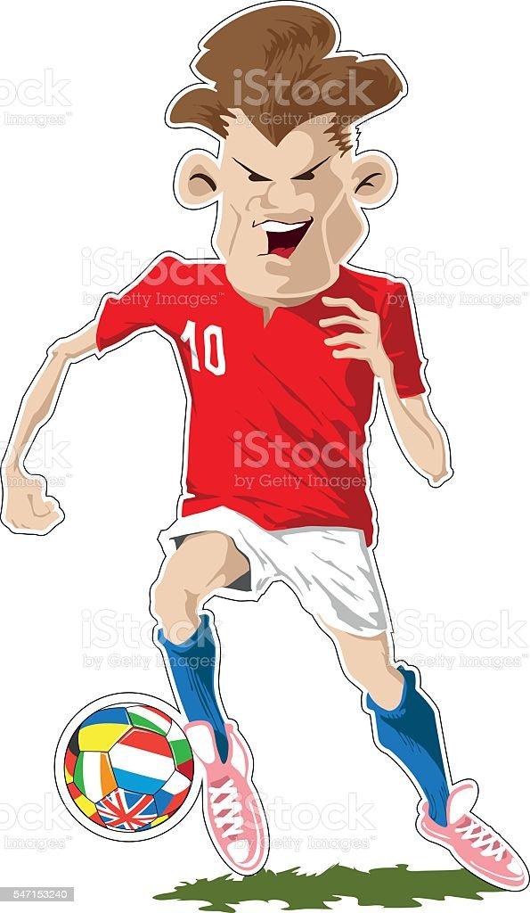 Soccer player kicking the ball vector art illustration
