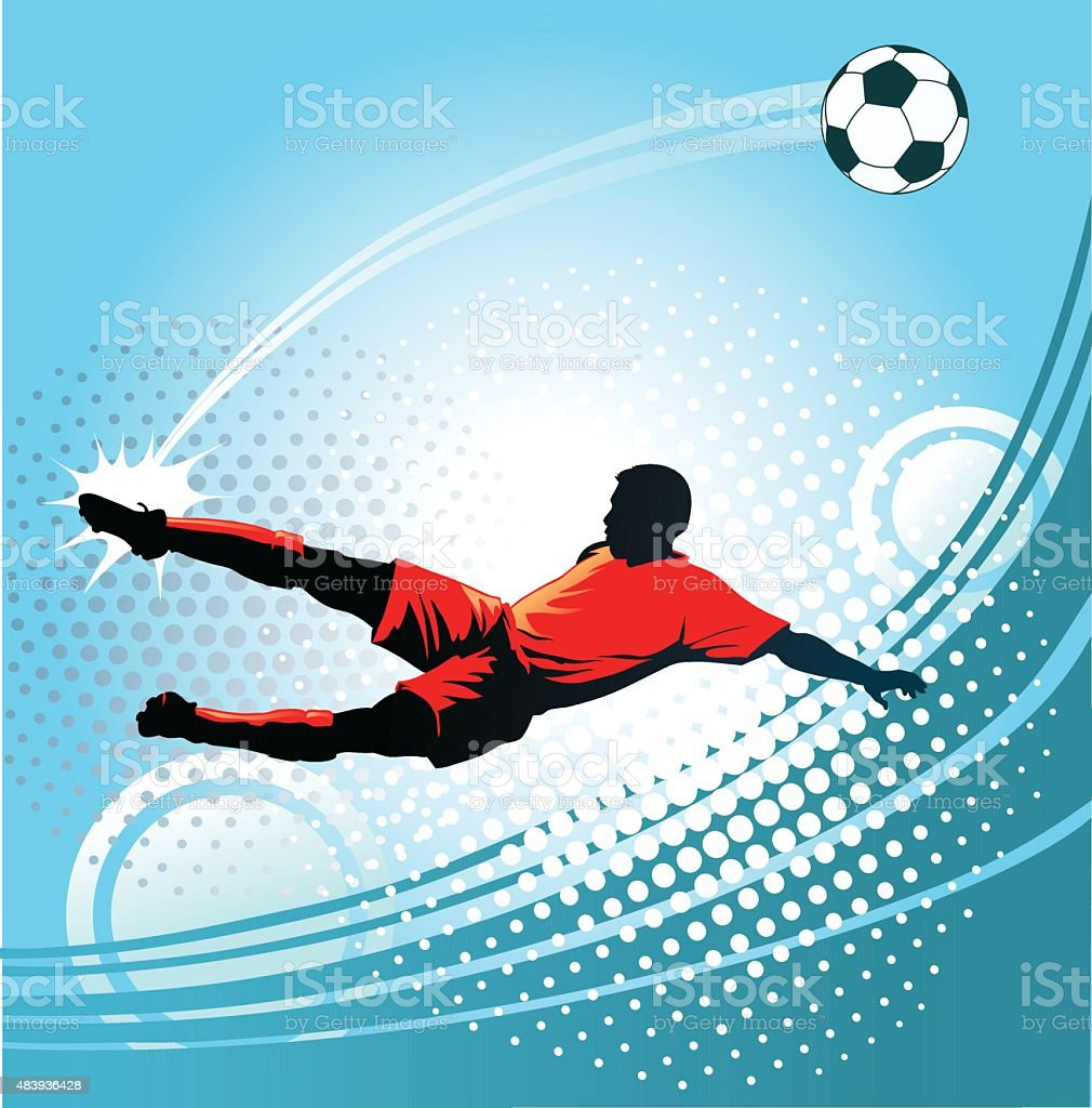 Soccer Player Kicking the Ball with Perfect Precision vector art illustration