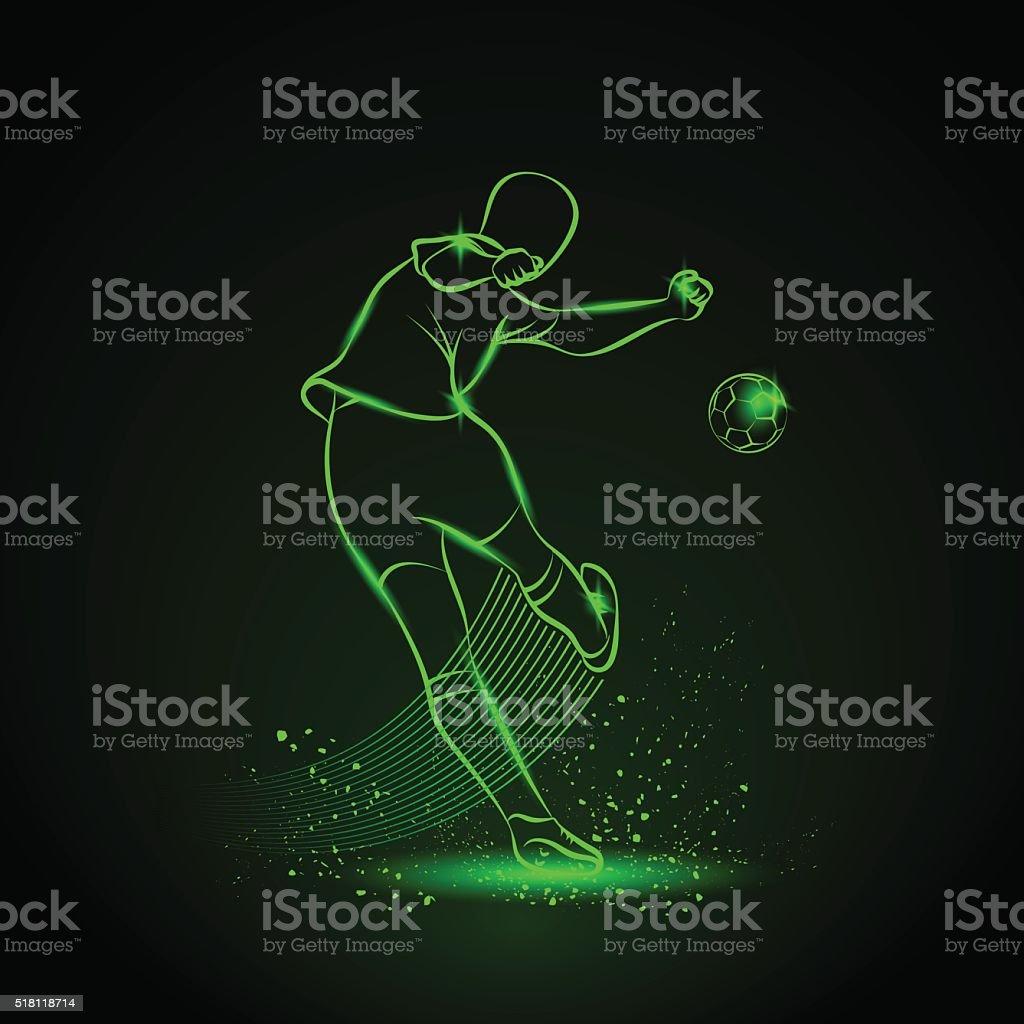 Soccer player kicks the ball. Back view. Neon illustration. vector art illustration