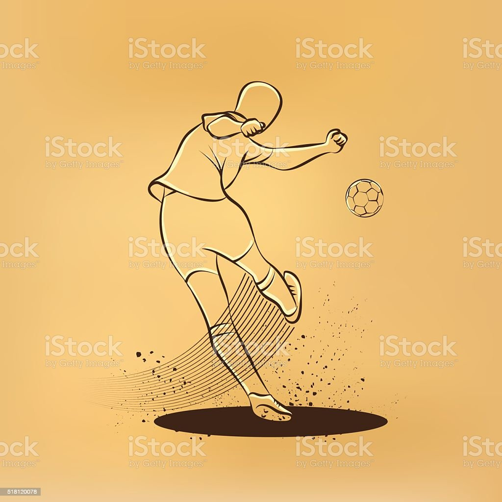 Soccer player kicks the ball. Back view. vector art illustration