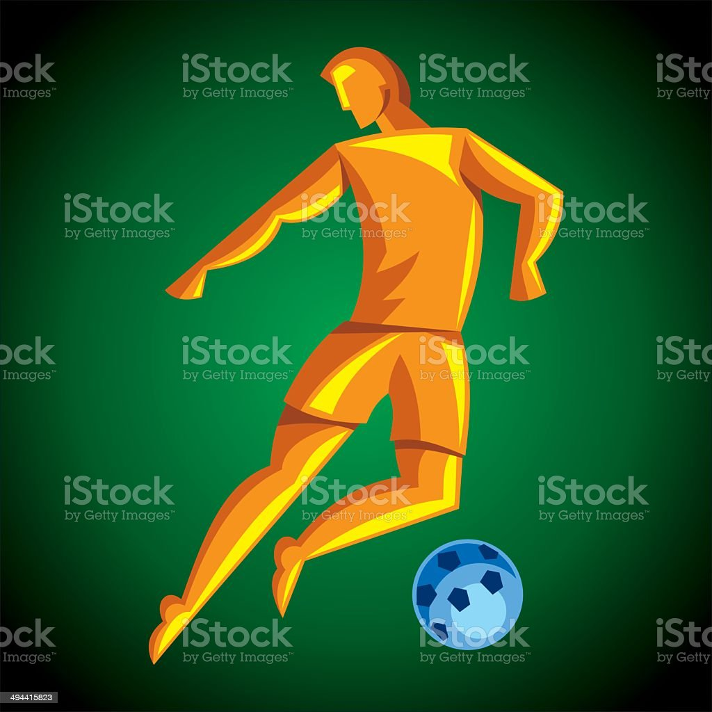 Soccer player kicks the ball royalty-free stock vector art