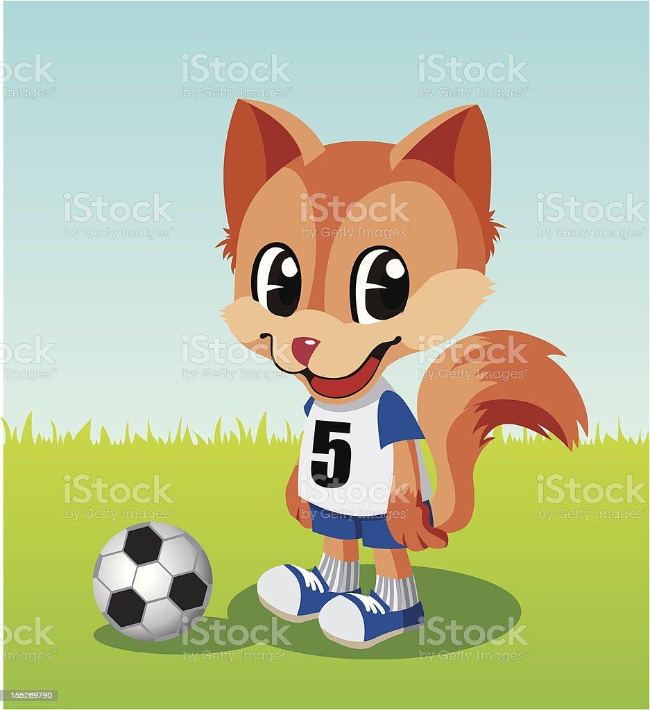 Soccer player little fox. vector art illustration