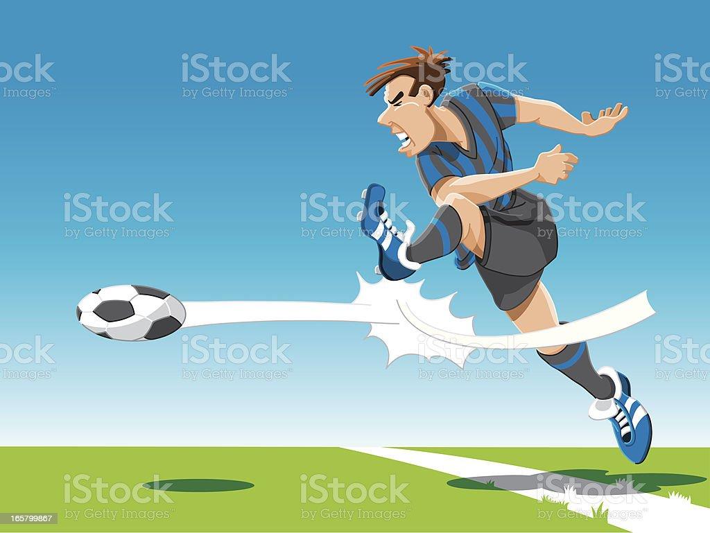 Soccer Player Powerful Shot royalty-free stock vector art
