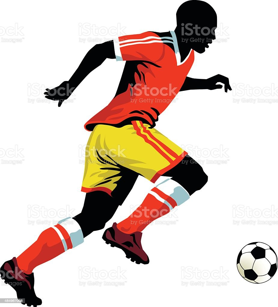 Soccer Player Running with Ball - Isolated vector art illustration