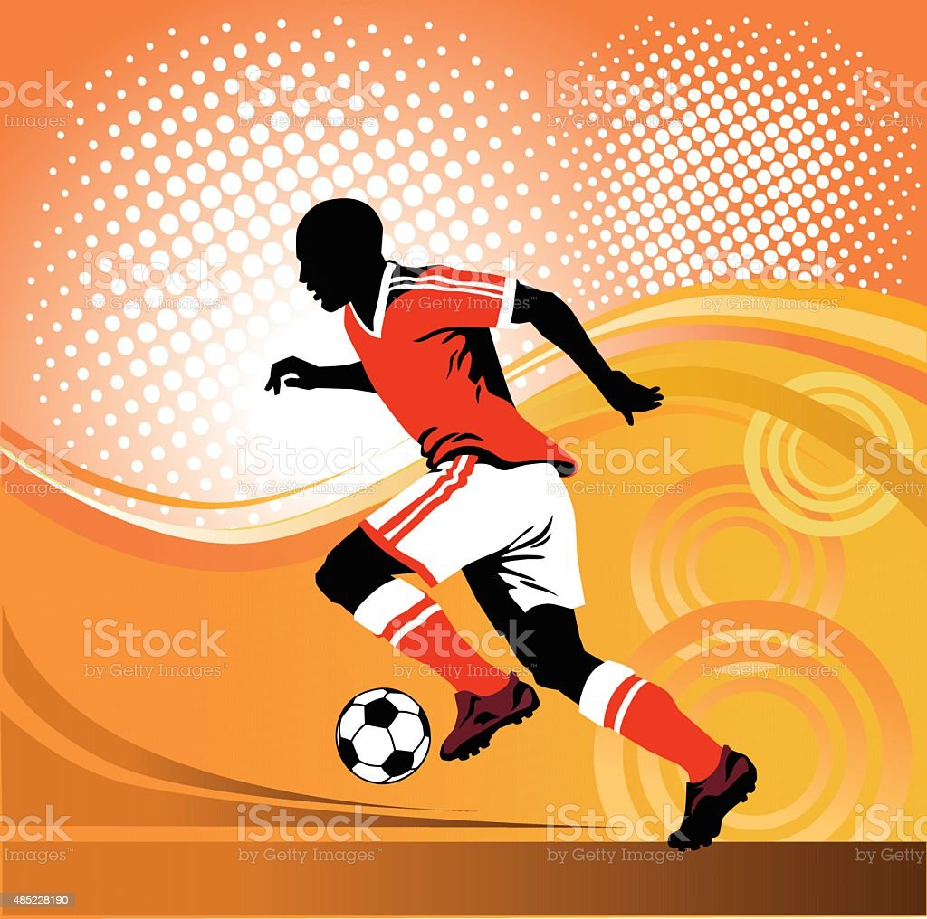 Soccer Player Running With Ball on Red Background vector art illustration