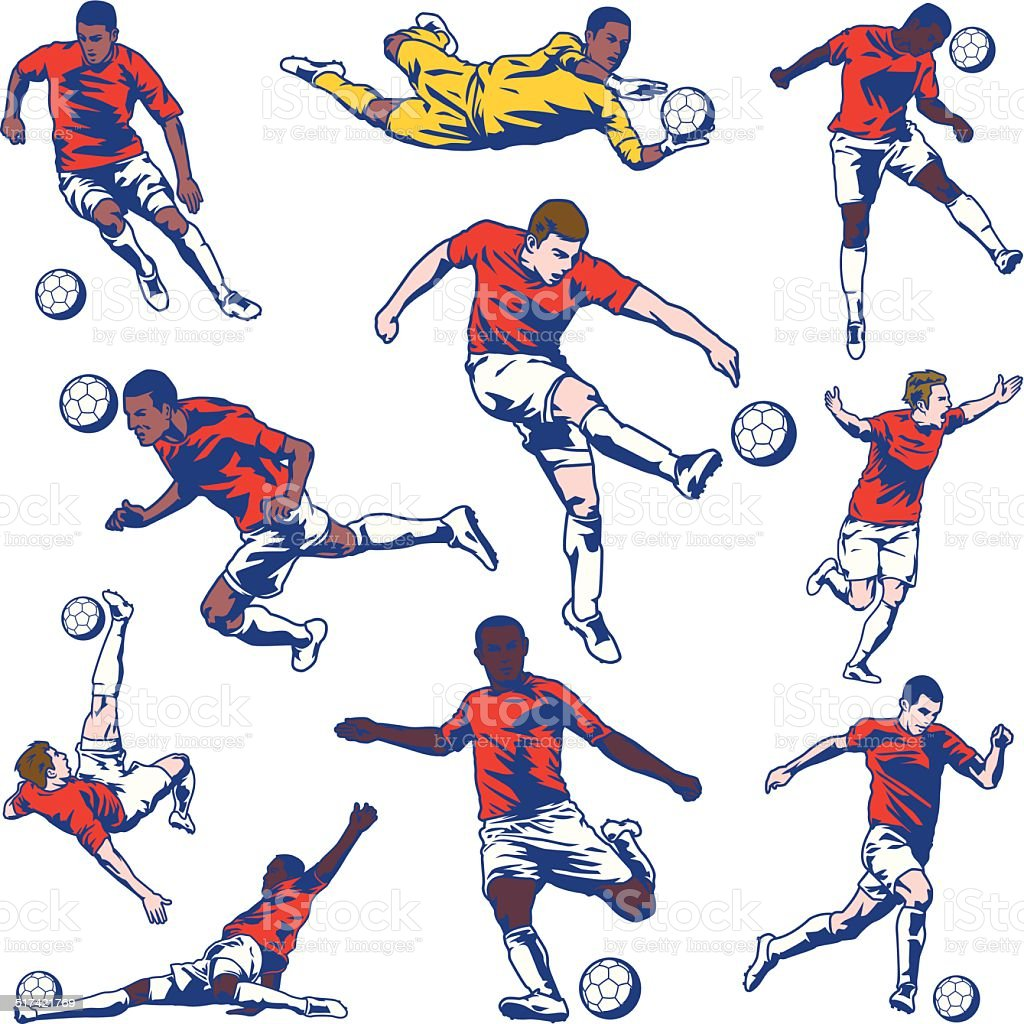 Soccer Player Set vector art illustration