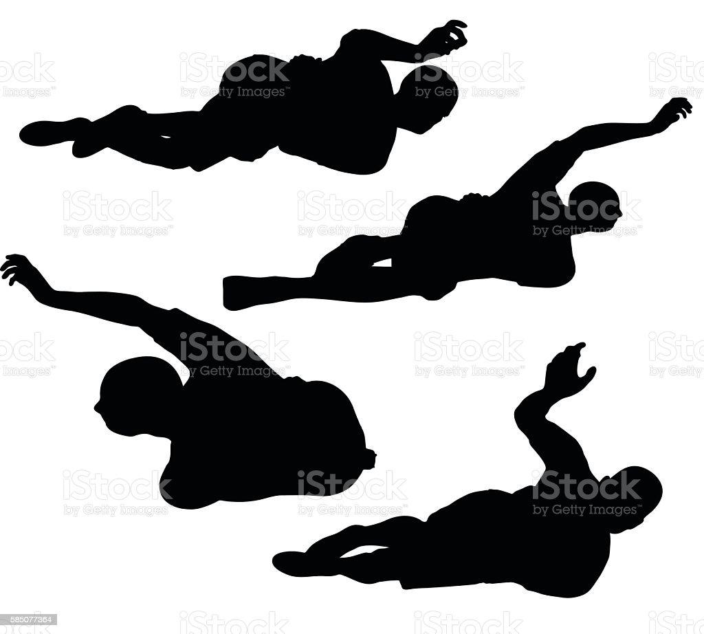 soccer player silhouette in black vector art illustration