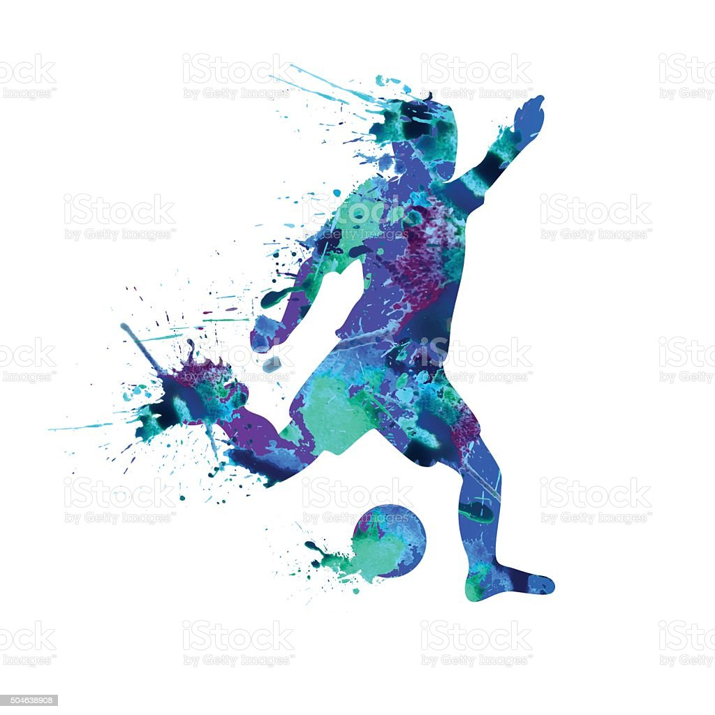 Soccer player. Spray paint on a white background vector art illustration