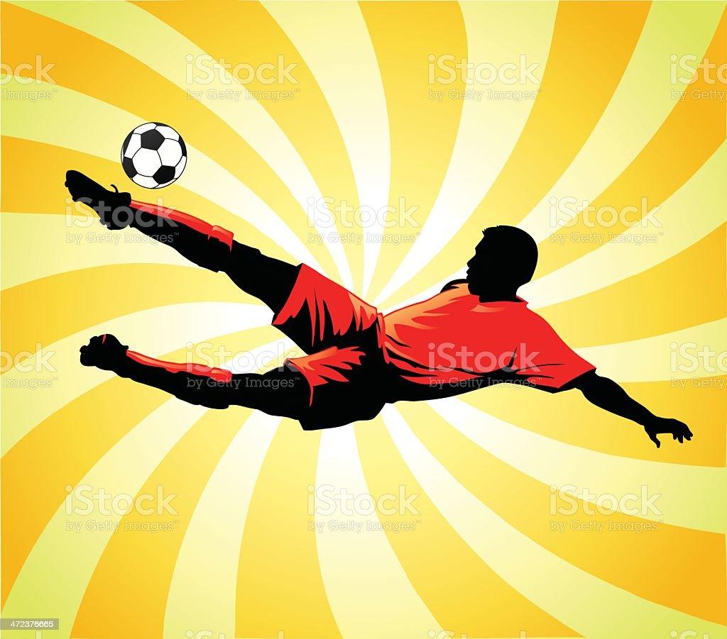 Soccer Player Striking the Ball vector art illustration