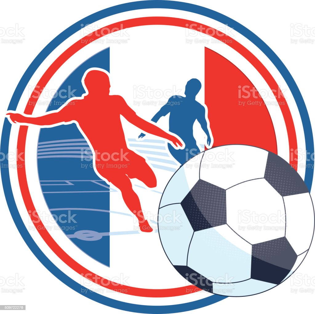 soccer player symbol in french colors stock photo