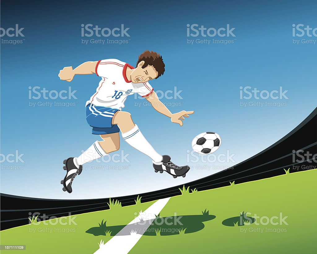 Soccer Player Volley Shot vector art illustration
